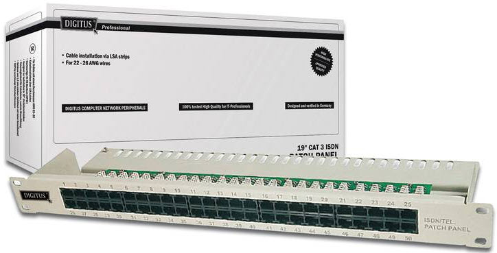 Patch panel 50P kat. 3 ISDN - Digitus