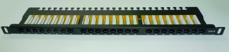 Patch panel 24P kat. 6 UTP 1/2U