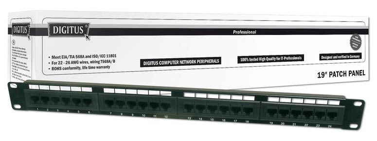 Patch panel 24P kat. 5e UTP - Digitus